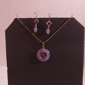 Jewelry - Lavender Jade, amethyst, diamond, 14k